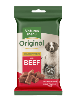 Natures Menu Real Meaty Dog Treats with Beef 60g Front of Pack