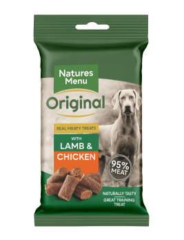 Natures Menu Real Meaty Dog Treats with Lamb and Chicken 60g Front of Pack