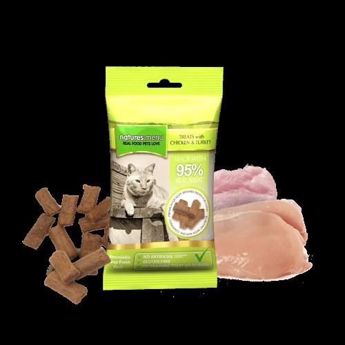 Natures Menu Real Meaty Cat Treats Chicken & Turkey 60g Bag