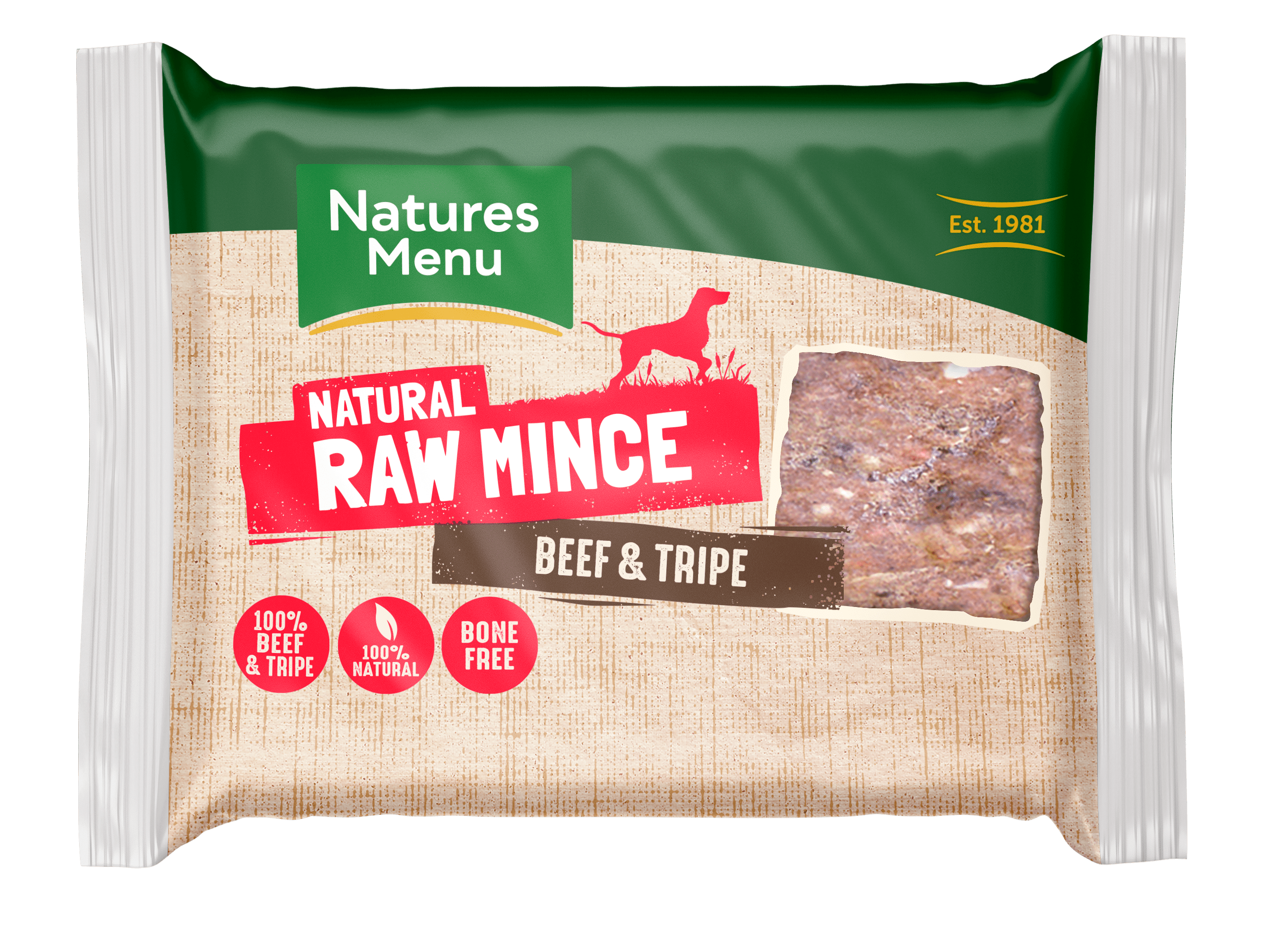 Natures Menu Beef & Tripe Block 400g Front of Pack