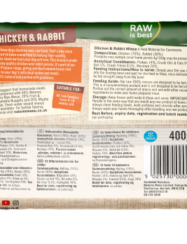 Natures Menu Chicken & Rabbit Block 400g Back of Pack