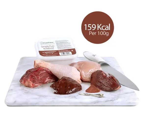 Purrform Beef Trim 450g Tub with Ingredients
