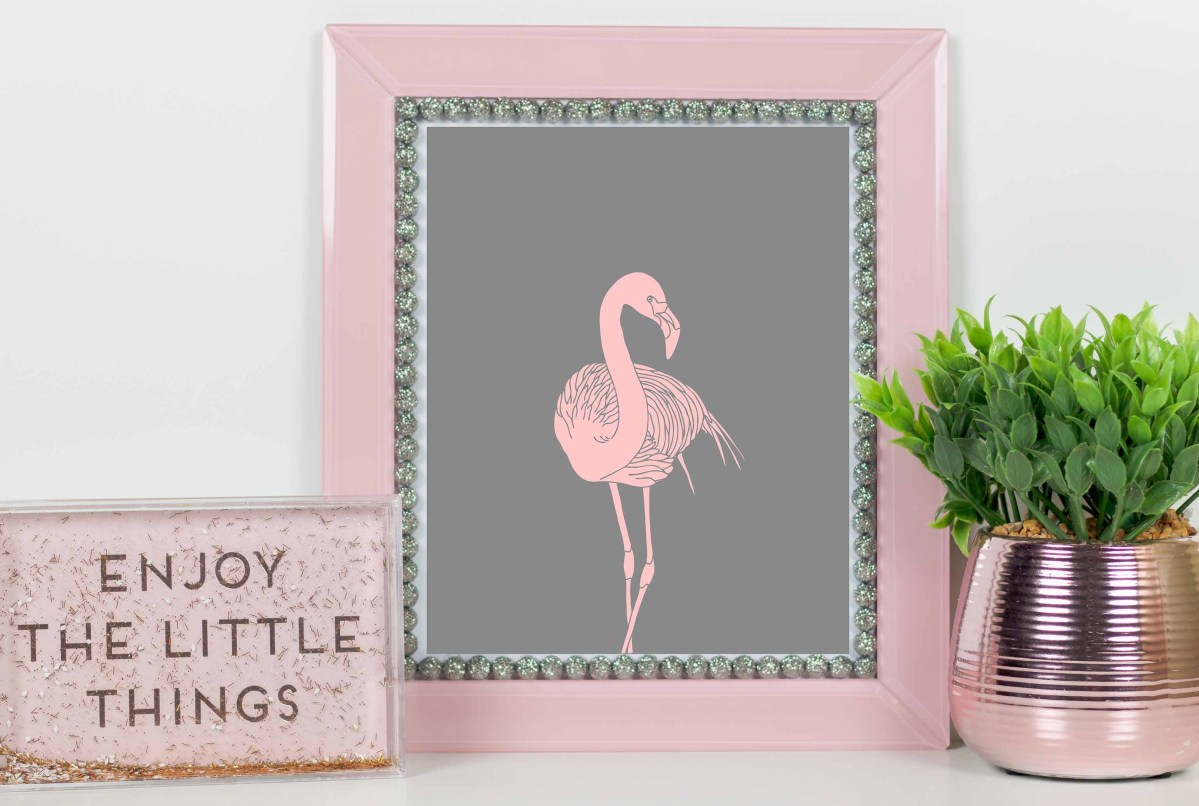 Plakat różowy flaming do pobrania