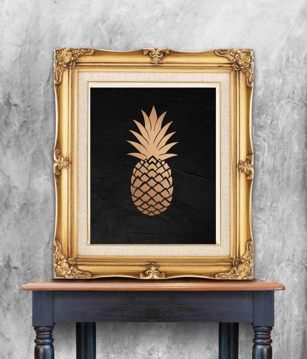 plakat z ananasem złoty druk