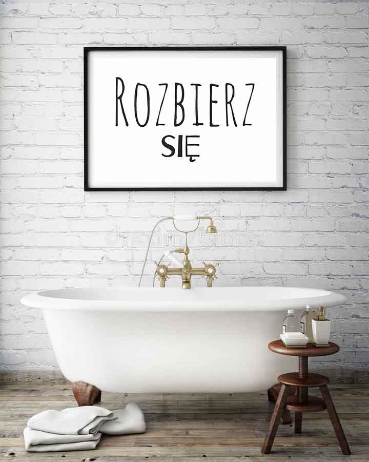 Plakat do łazienki Get naked do samodzielnego wydruku