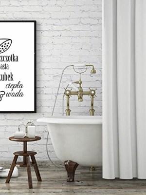 plakat do łazienki szczotka pasta kubek ciepła woda do samodzielnego wydruku