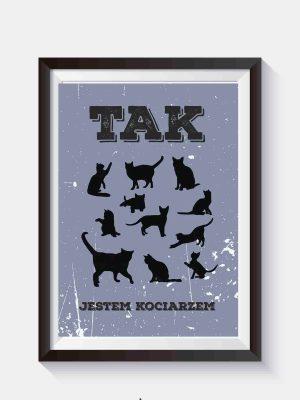 plakat o kotach tak jestem kociarzem