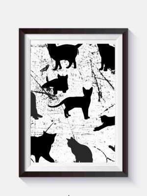 Czarno biała grafika z kotami do samodzielnego wydruku