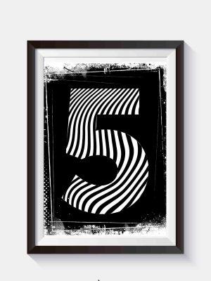 plakat typograficzny na ścianę cyfra 5