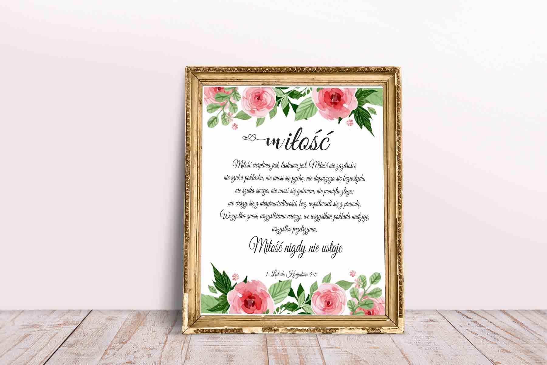 Plakat Wersety Biblijne Na ścianę Miłość Cierpliwa Jest