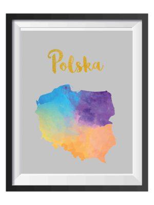 mapa Polski plakat na ścianę do wydruku