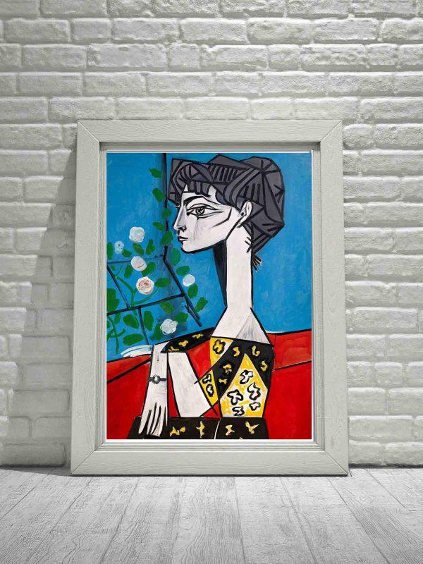 Picasso plakat z reprodukcją obrazu Jaqueline z kwiatami
