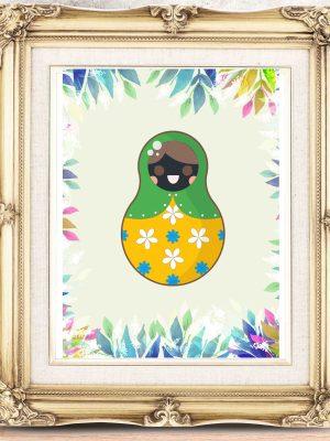 Plakat folklor dekoracja typu folk Matrioszka lalka Babuszka
