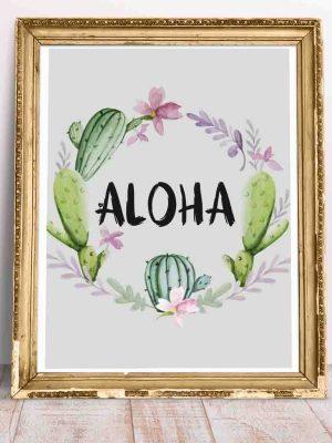 Plakat miętowy z motywem roślinnym i pozdrowieniem Aloha