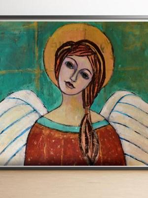 Obraz plakat Anioł Szczęścia - dekoracja ścienna z motywem anioła