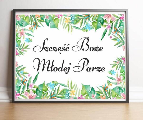 Plakat powitalny gości weselnych-Szczęść boże młodej parze