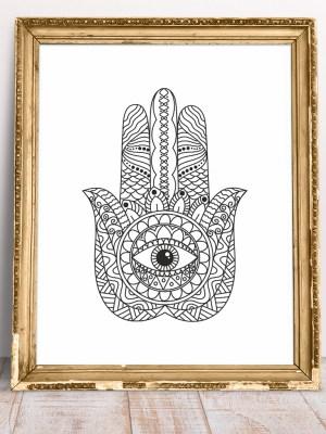 Plakat na ścianę Hamsa - Ręka Fatimy - amulet ochronny