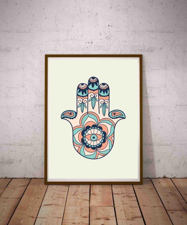 Grafika na ścianę do wydrukowania - Ręka Fatimy i oko proroka