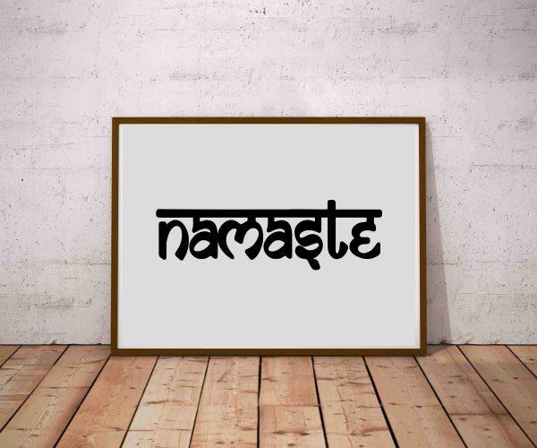 Plakat indyjski - czarno biała grafika na ścianę Namaste