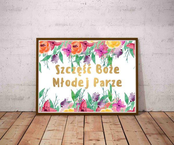 Plakat Szczęść Boże Młodej Parze złoty napis motyw kwiatowy