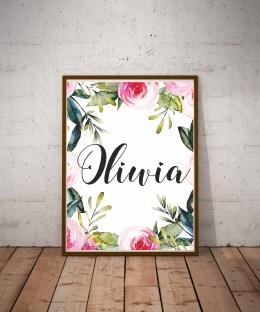 Plakat z imieniem Oliwia do samodzielnego wydruku