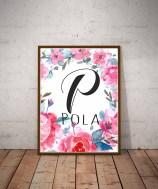 Napis z imieniem dziecka pierwsza litera imienia P jak Pola