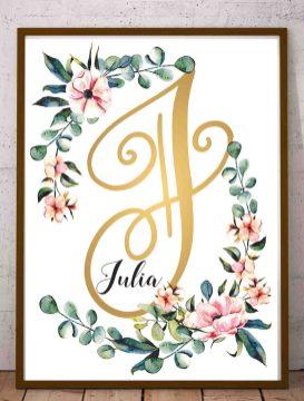 Julia obraz z imieniem dziecka do wydrukowania Julia złota litera J