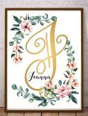 Joanna obraz inicjały monogram Imię dziecka na ścianę litera J