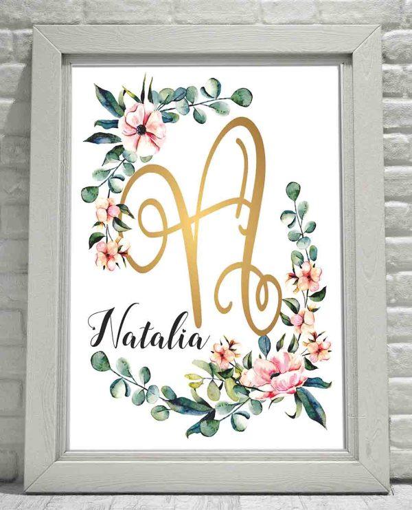 NATALIA Obraz z imieniem dziecka ścianę Złoty inicjał N