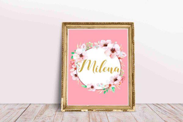 Milena imię do wydruku plakat różowy