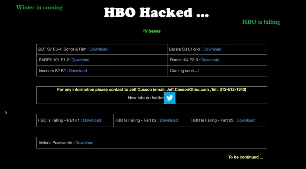 Des hackers menacent HBO