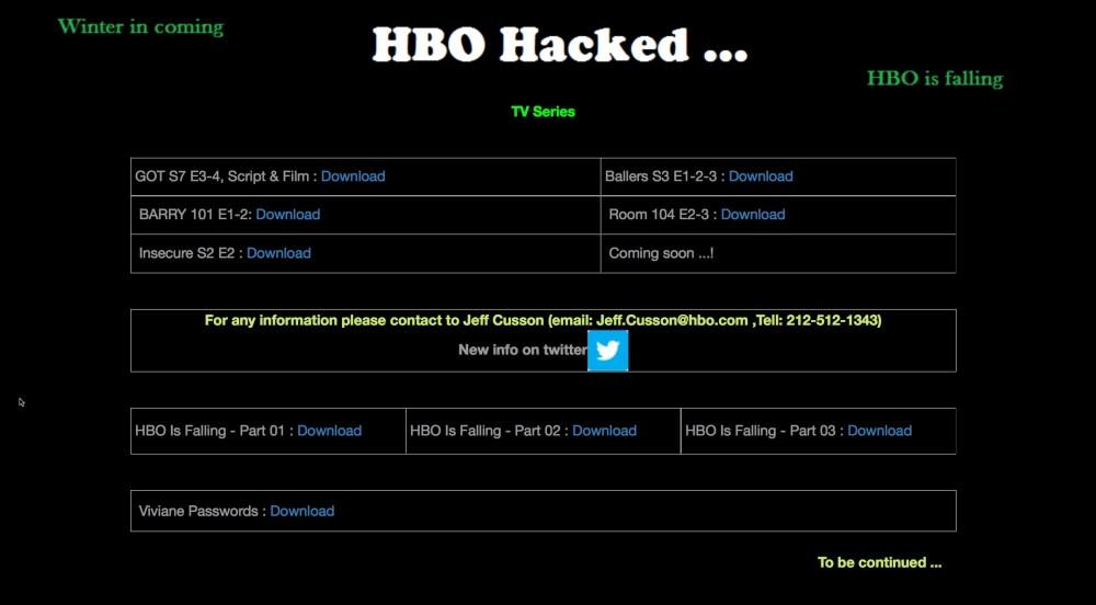 Des hackers menacent HBO