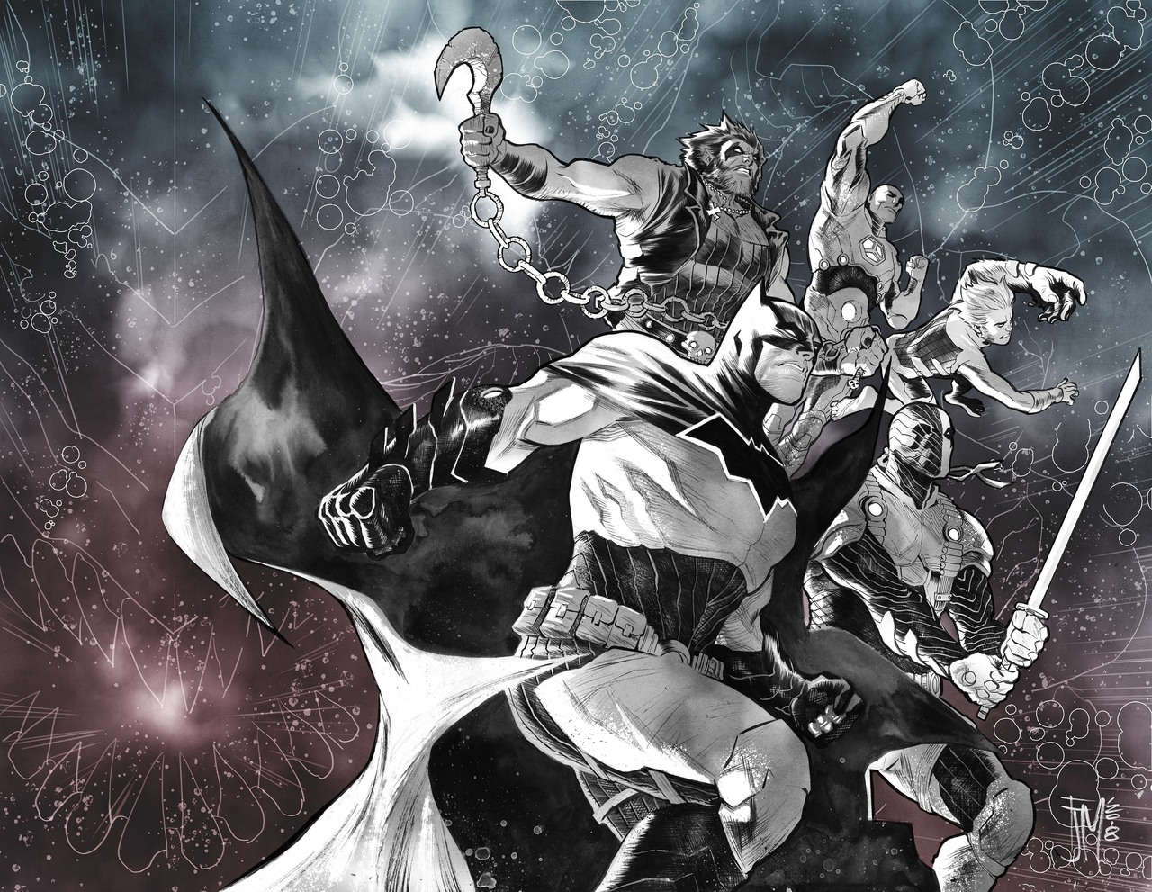Justice League: No Justice #2 avec la team Entropy, cover par Francis Manapul