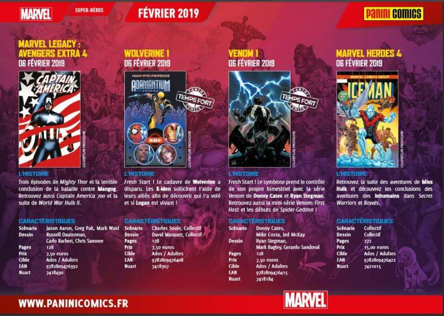 Panini Comics : Sortie février 2019