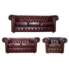 Chesterfield Sofa Set Uk Leather Repairs Auckland Antique Oxblood Red Genuine 3 432 43club
