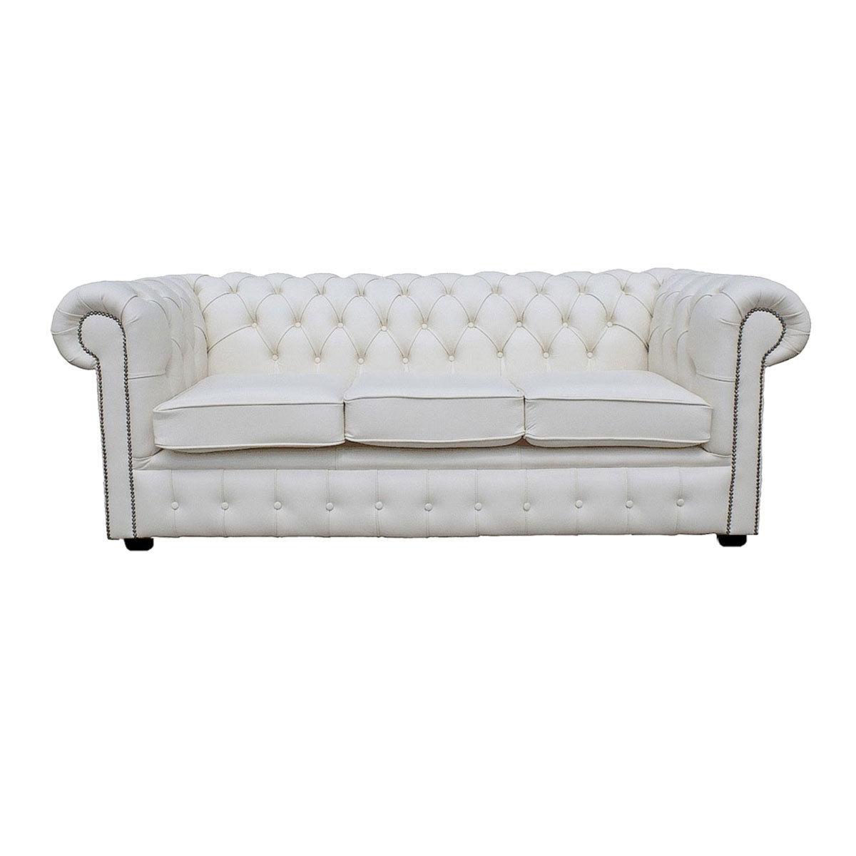 white chesterfield 3 seater sofa antique looking tables 100 vera pelle bianca tre posti divano letto