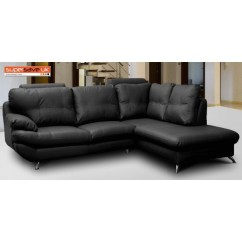 Genuine Leather Sofa Uk Liatorp Table Hack Verona Right Corner Group Black Faux Pu Modern