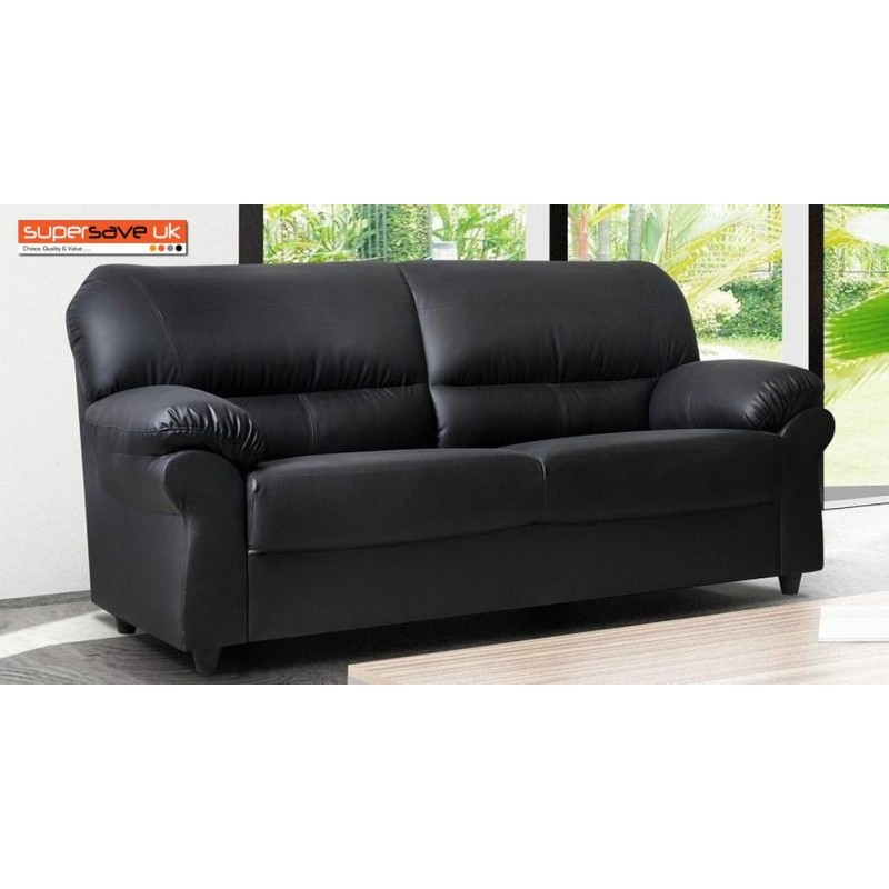 3 seater sofa black leather outdoor rattan corner sets polo faux pu modern contemporary supersaveuk provides an exciting range of home furnishings chesterfield genuine sofas chairs dining furniture bedroom and lots more
