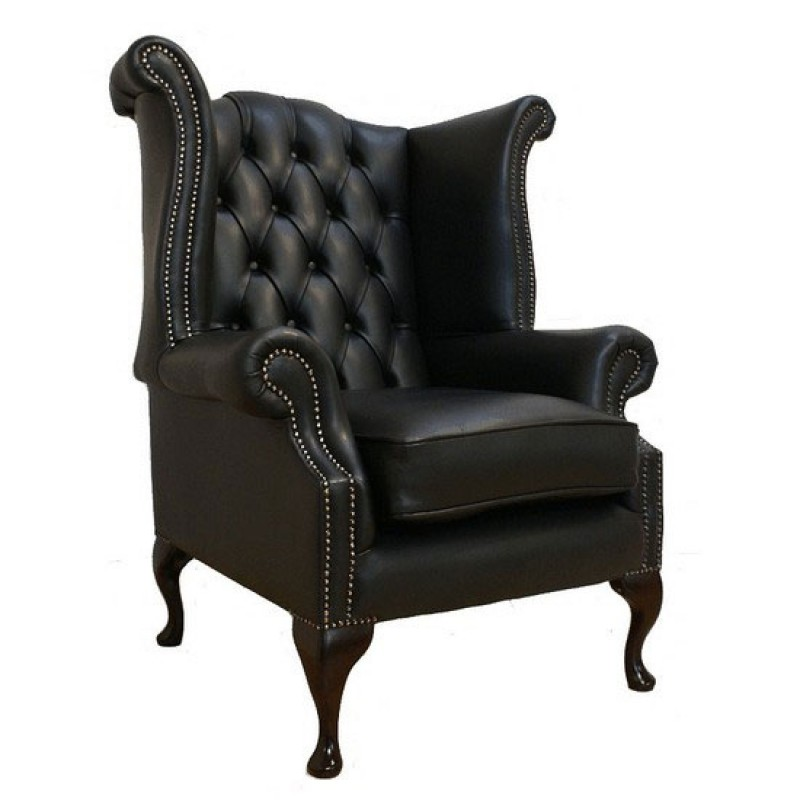 oxblood leather wing chair rental of tables and chairs chesterfield shelly black genuine queen anne armchair