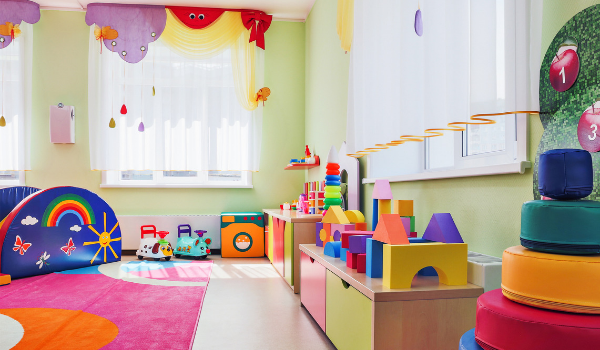 classroom with bright colored toys
