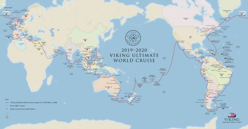 2019-2020 Viking Ultimate World Cruise Map
