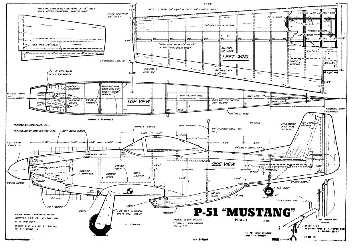175+ Small Medium Scale RC Model Airplane Plans Templates