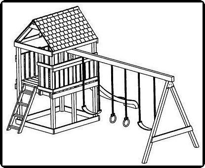 Custom Jungle Gym Plans, Deluxe Tree House, Full Detailed