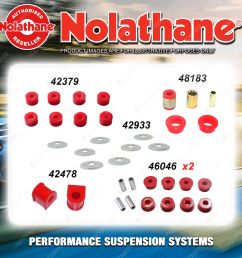 rear nolathane suspension bush kit for nissan pathfinder r50 4 6cyl 5 1995 2004 [ 1600 x 1600 Pixel ]