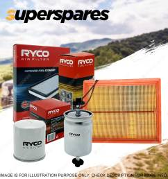 ryco oil air fuel filter service kit for holden barina mb ml suzuki swift [ 1600 x 1600 Pixel ]