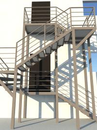Уличная лестница на 2 этаж