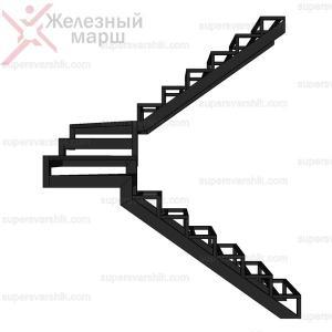 Металлический каркас лестницы с забежными ступенями