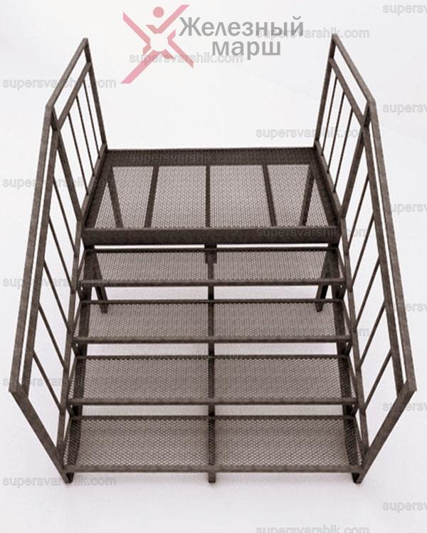 Лестница со ступенями из просечного листа