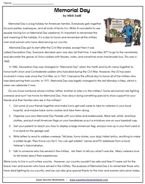 A Memorial Day Worksheet