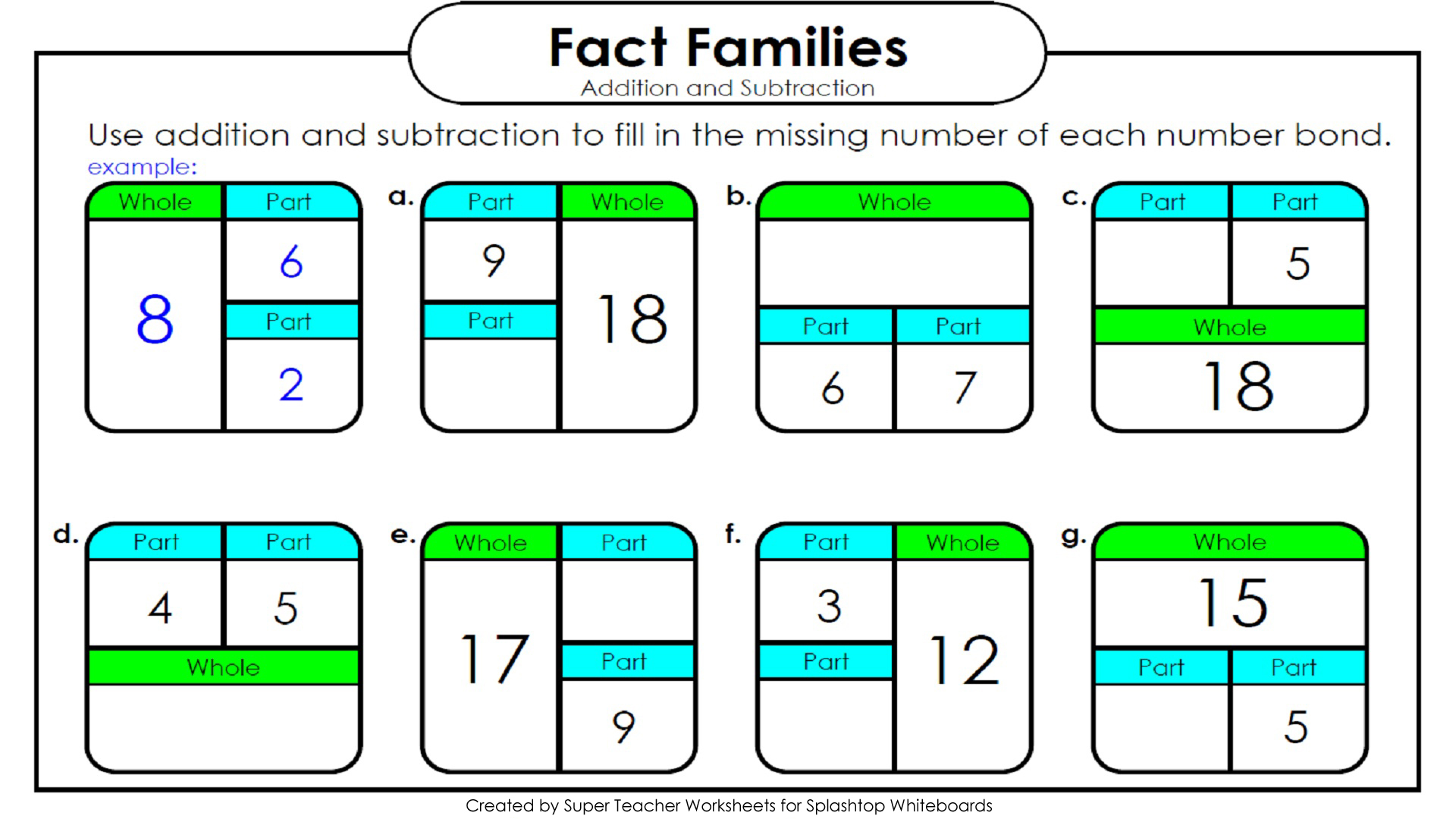 New 210 Fact Family Worksheets Super Teacher